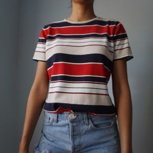 Vintage Thick Knit Striped T Shirt